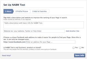 Facebook Fanpage - Set up NABM test